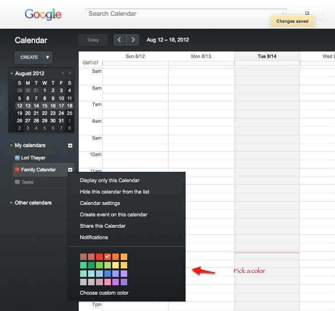 Pick A Calendar Color How To Set Up A Shared Online Family Calendar On Google
