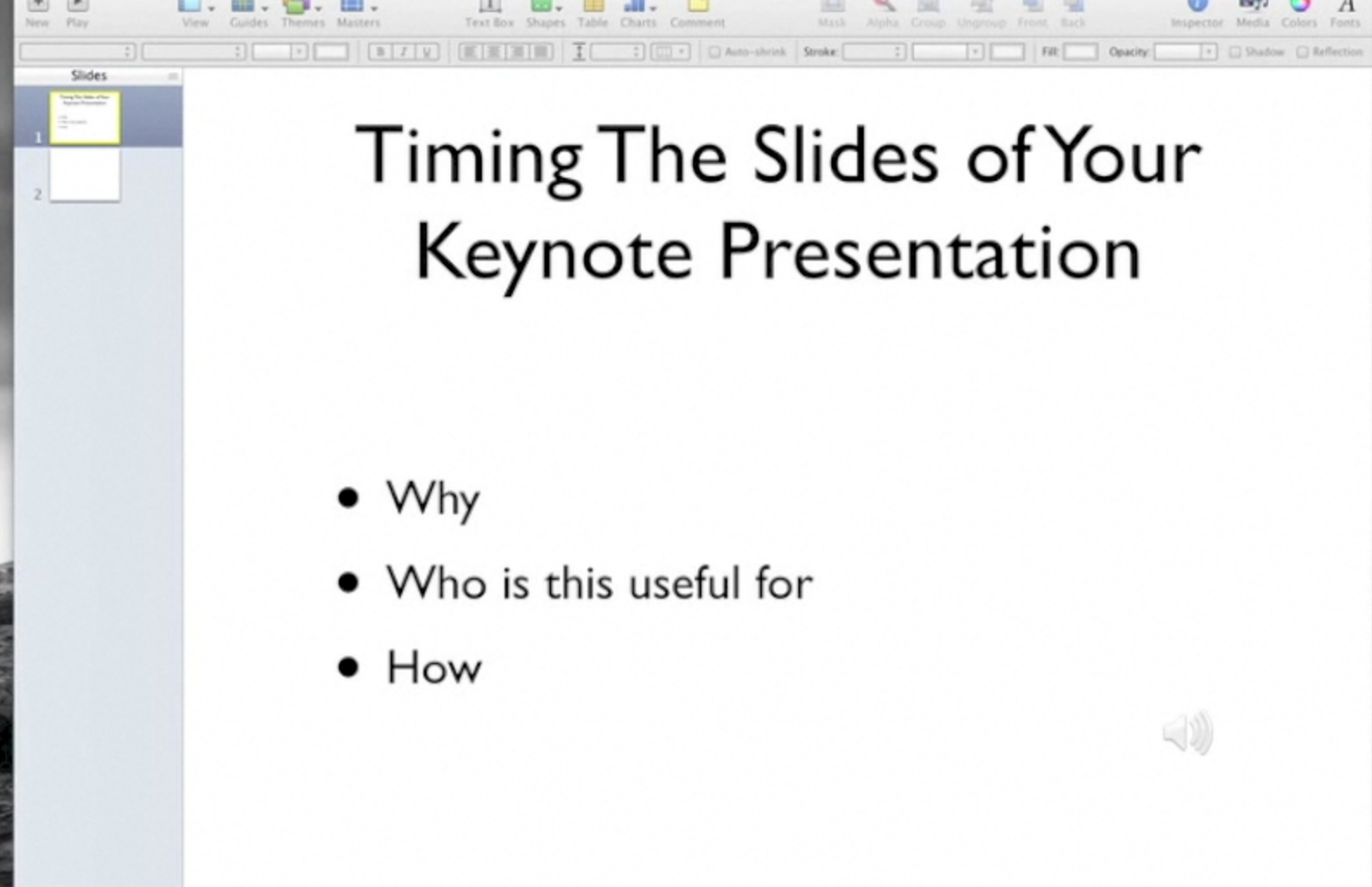 Create a Keynote Presentation Video: Timing The Slides