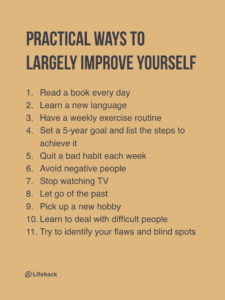 11 Ways To Improve Yourself Quickly